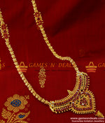 Grand Imitation Jewelry Ruby red AD Stone Mugappu Dollar Chain Online