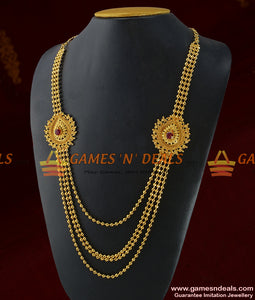 Gold Plated Four Line Long Haaram Flower Design With Ruby Stone