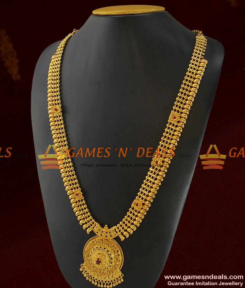 Grand Bridal Wear Full AD Stone Long Necklace Imitation Jewelry Online