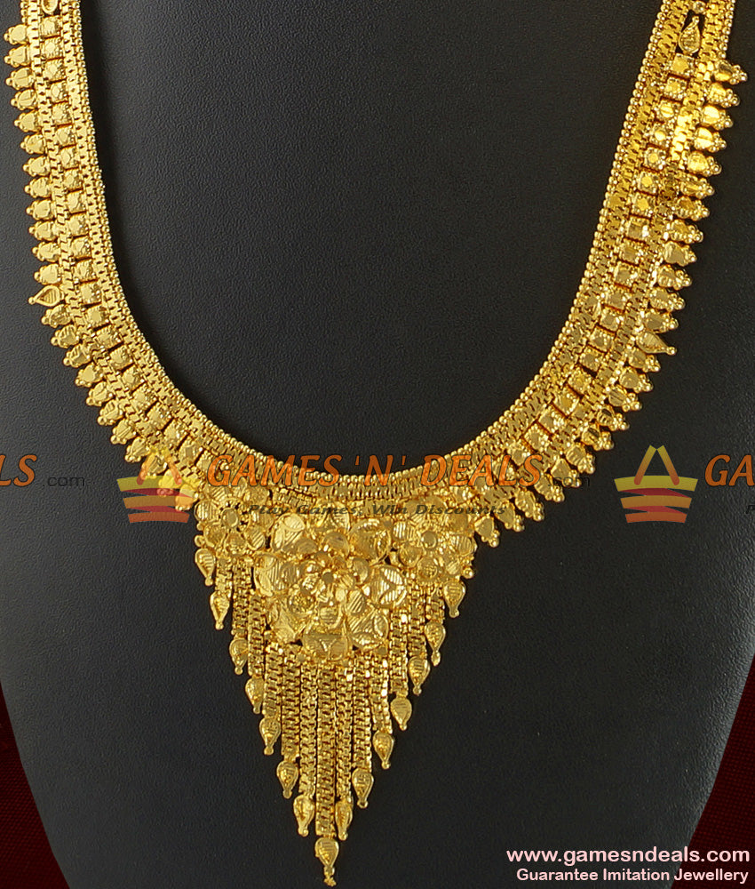 Gold Plated Jewelry Traditional Light Weight Calcutta Haaram Design