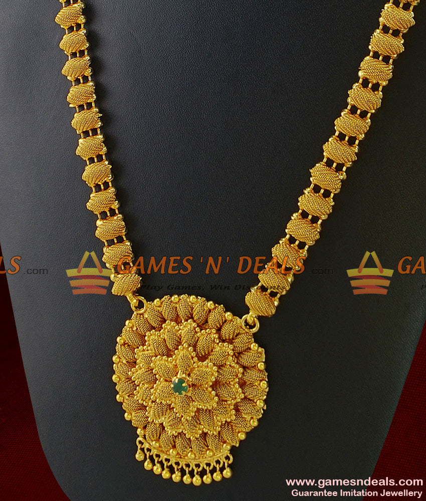 Unique Handmade Kerala Haaram Gold Plated Big Flower Design
