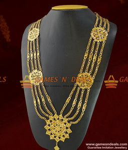 Traditional Gold Plated Four Line Governor Maalai Flower Design Aaram
