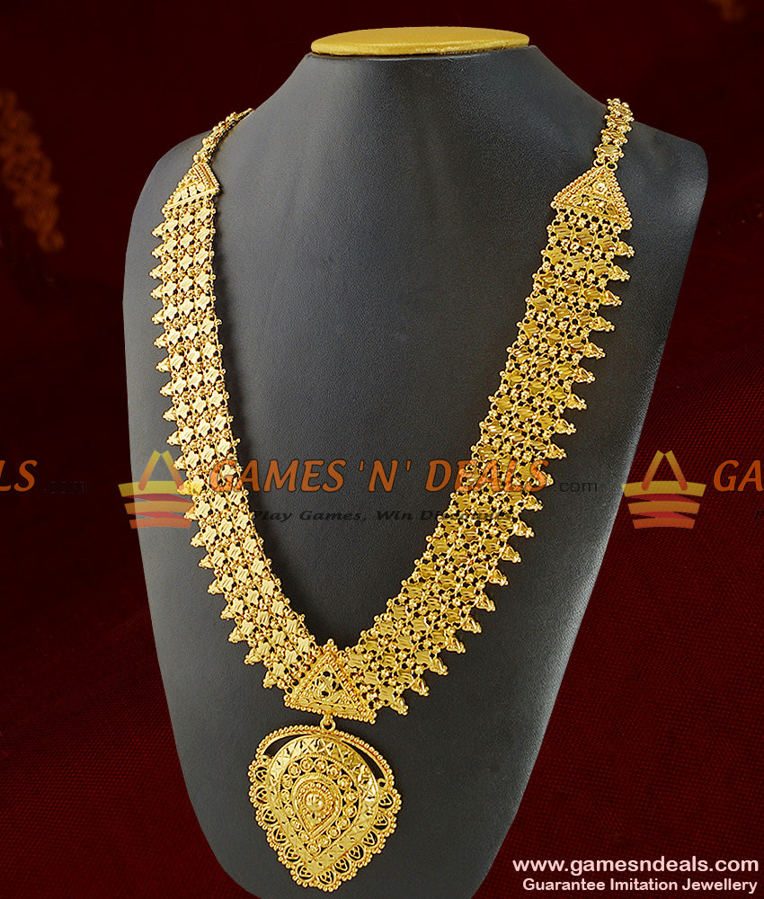 Grand Bridal Wear Heavy Gold Like Long Necklace Imitation Jewelry Online