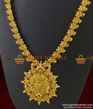 Premium Gold Tone White Stone Long Necklace for Marriage