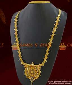 Chidambaram Covering Premium Gold Plated Stone Necklace for Marriage