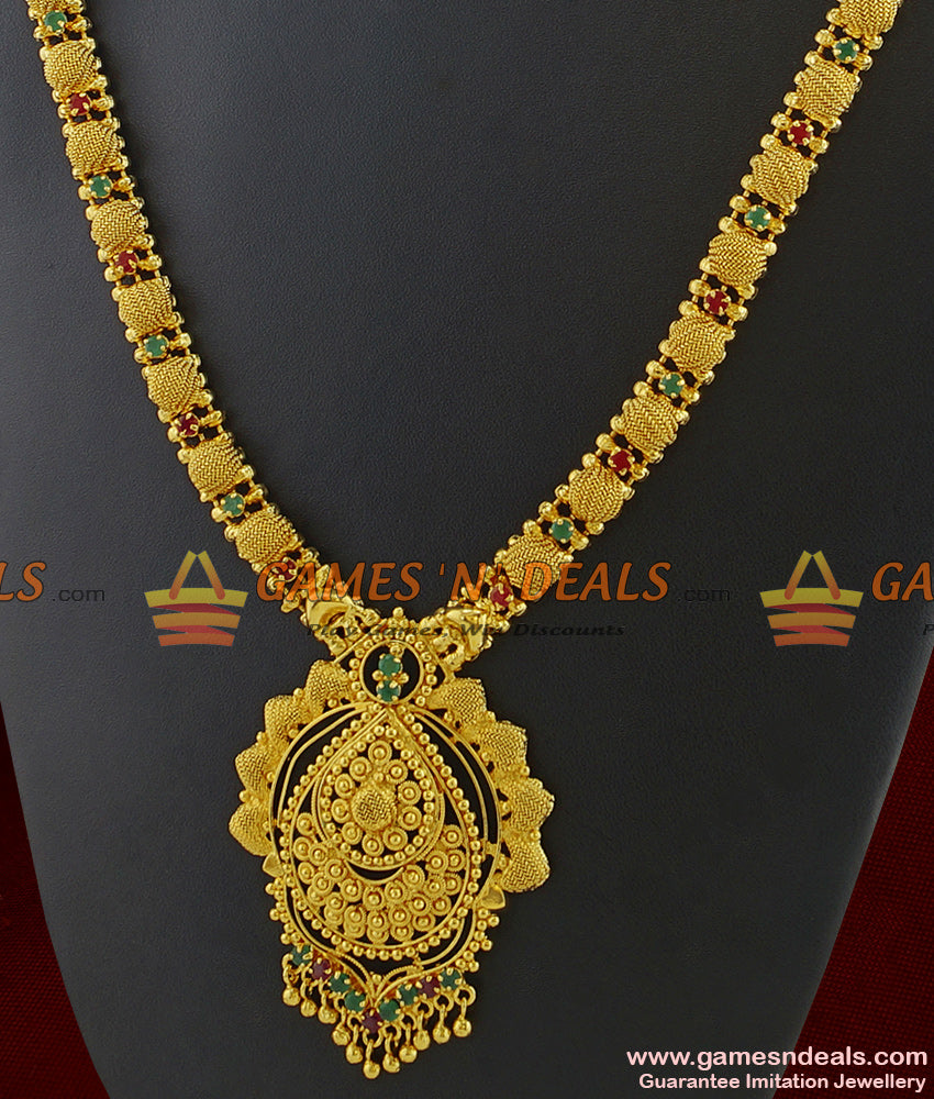 Buy Online Full Ad Stone Long Necklace for Marriage Women and Girls