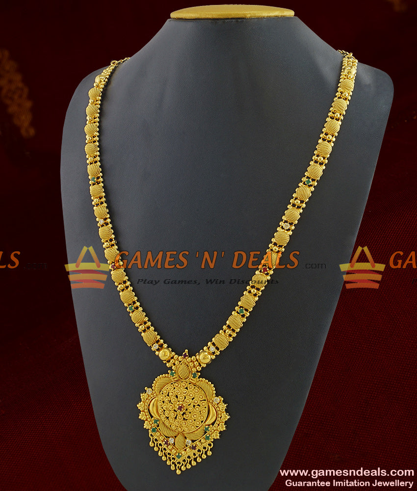 Premium Gold Finish Stone Necklace for Marriage and engagements