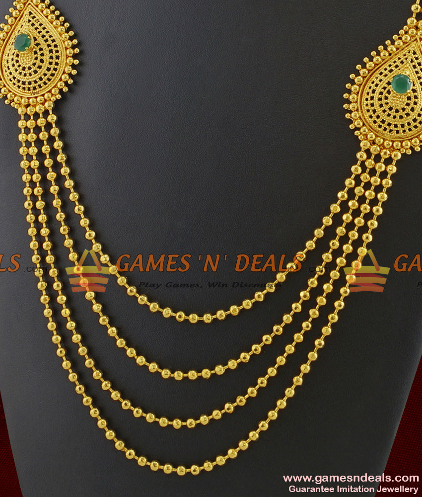 Gold Plated Four Line Long Haaram Flower Design With Emerald Stone