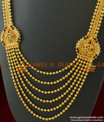 Gold Plated Five Line Long Stone Haaram Enamel Pattern Necklace For Marriage