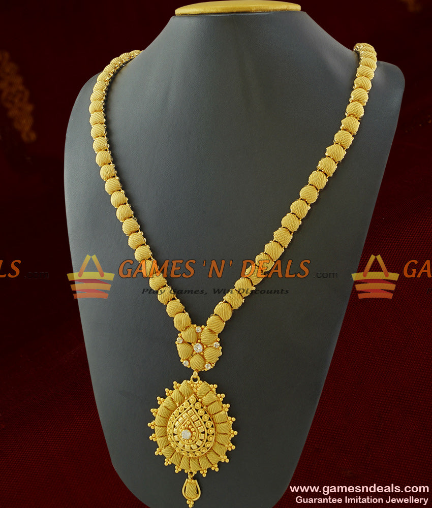 South Indian Imitation Jewelry Guarantee Haram Long Necklace for Women