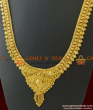Gold Plated Jewellery Traditional Calcutta Design Long Bridal Necklace for Marriage