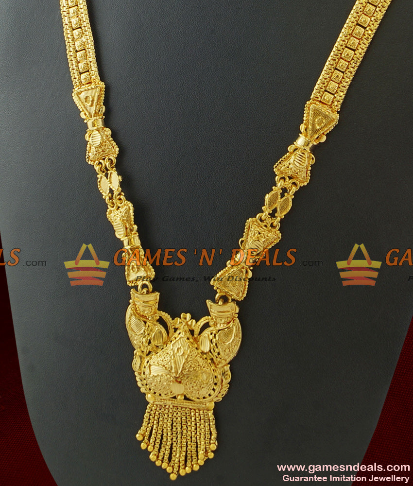 100mg Micro Gold Traditional Stiff Type Square Chain Calcutta Long Necklace
