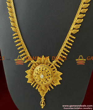 Arumbu Leaf Bridal Haaram Imitation Jewelry Unique Flower Design