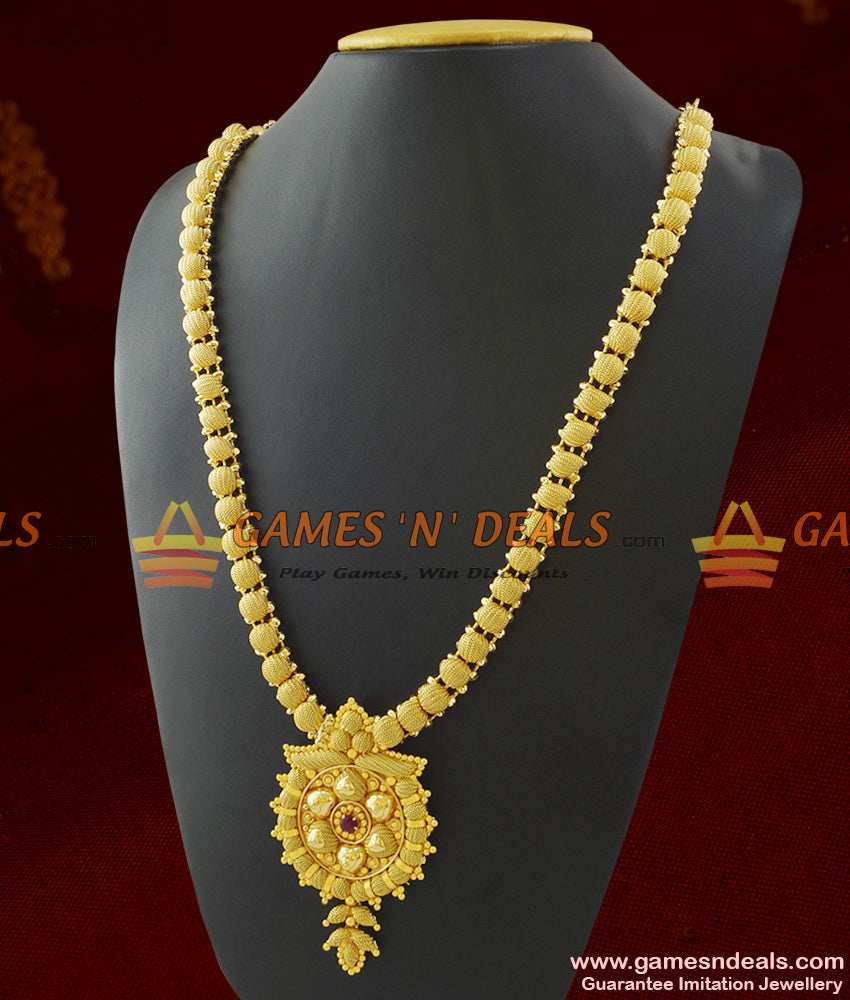 Single Red Stone Dollar Kerala Design Long Necklace for Marriage