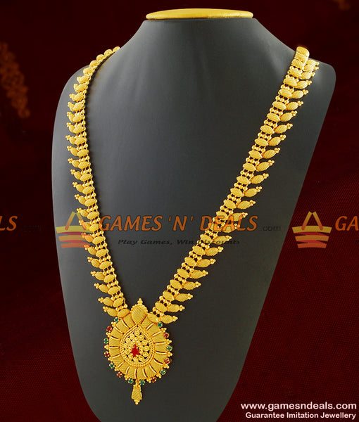 South Indian Traditional Leaf Design Long Necklace For Women
