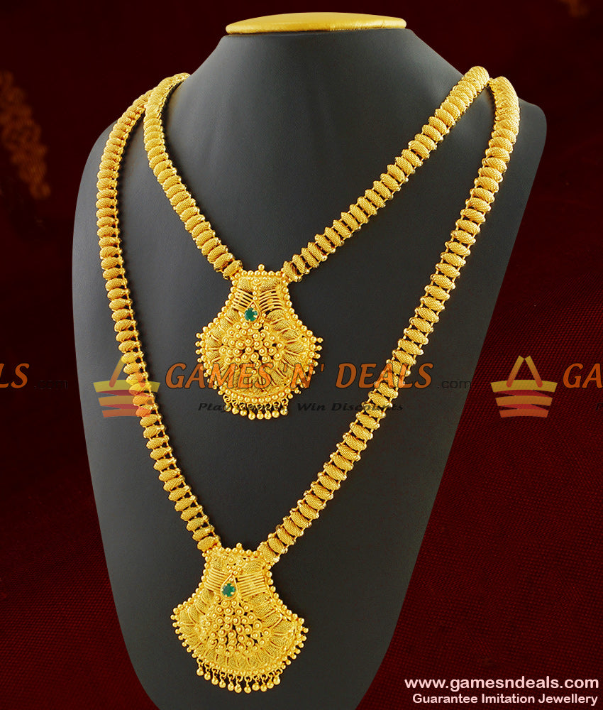 Green Stone Dollar Necklace Haaram Combo for Wedding Jewelry for Women