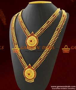 One Gram Gold Full Ruby Stone Combo Set Necklace Jewelry for Women