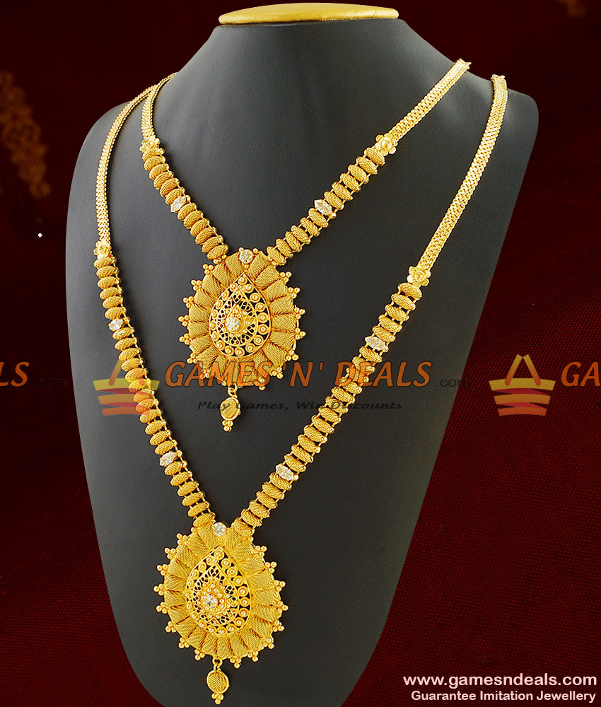 Sparkling Kerala Design Jewelry Haaram Necklace Set Combo For Women
