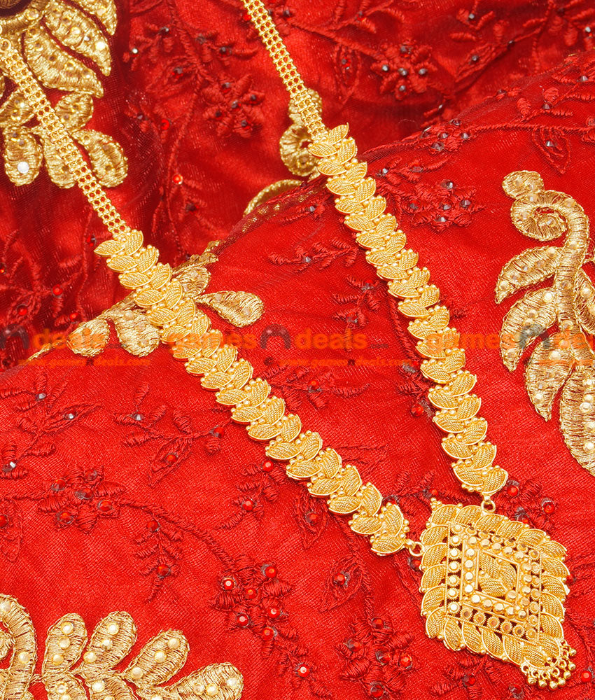 Grand Party Wear Full Net Work Handmade Long Haaram Imitation Jewelry