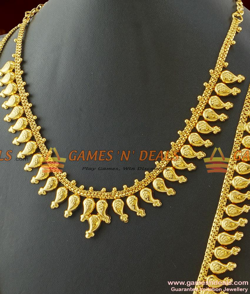 Light Weight Traditional Mango Haram Necklace Combo without Stones