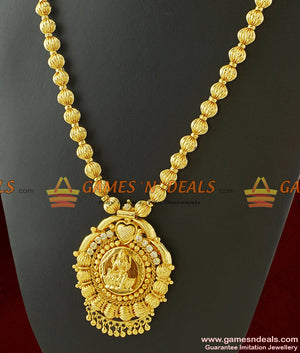 One Year Guarantee Round Beaded Chain Lakshmi Dollar Long Necklace for Marriage