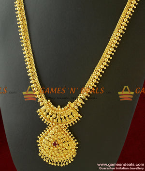 Traditional Tamilnadu Round Balls Long Necklace for Marriage and Temple Functions