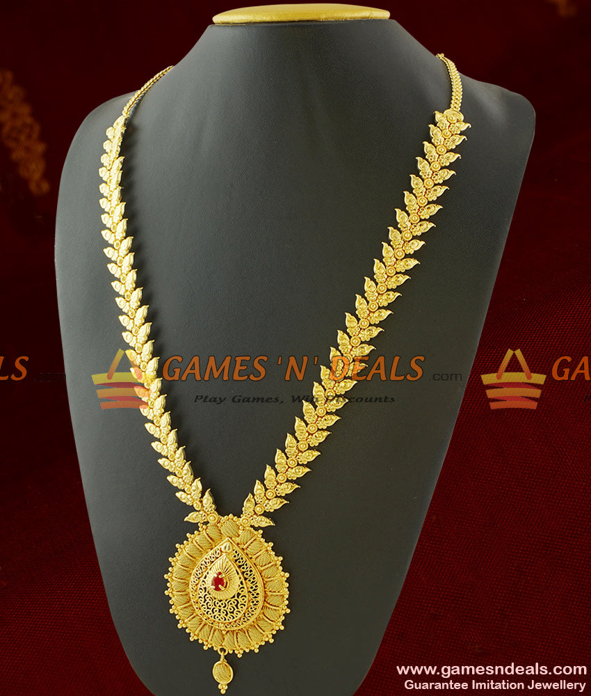 Grand Party Wear Long Leaf Design Haaram Imitation Jewelry for Marriage