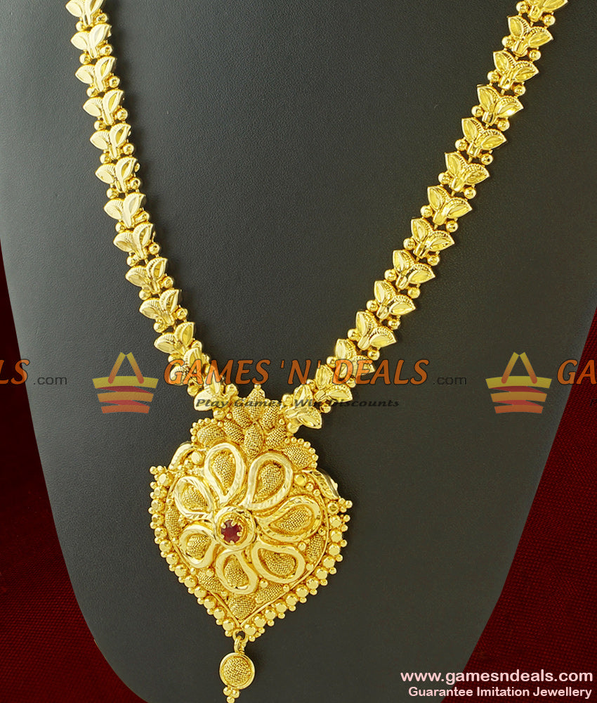 Single Red Stone Dollar with Butterfly Chain Links Long Necklace for Marriage
