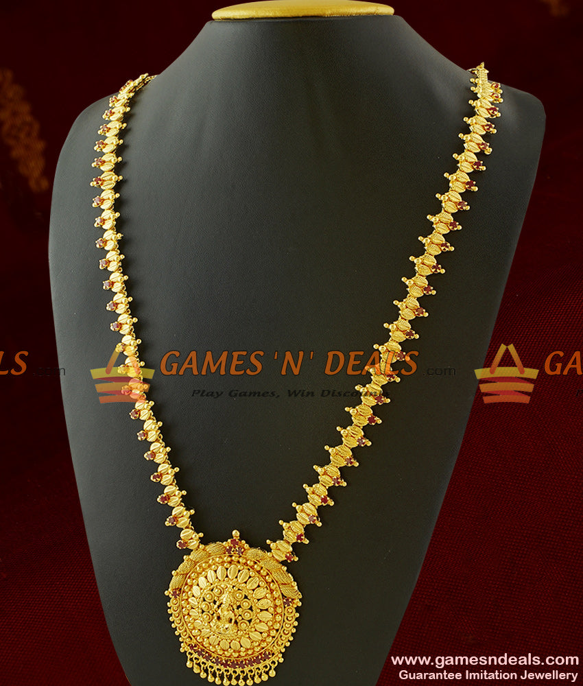 South Indian Ruby Lakshmi Dollar Long Necklace for Temple Functions