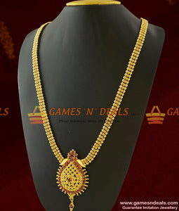Simple Yet Attractive Ruby Stone Dollar Long Necklace for Women