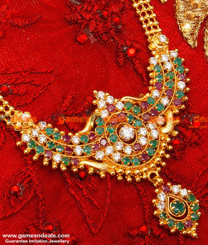Gold Plated Attractive Ruby Stone Dollar Party Wear Long Haaram