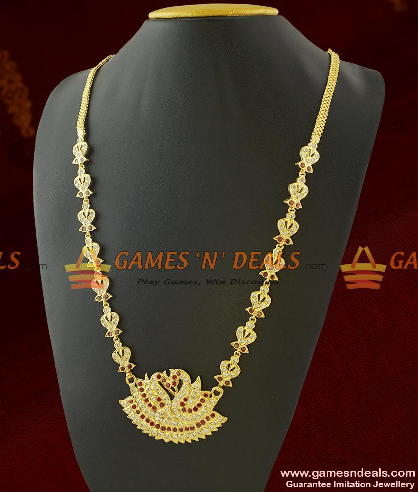 Long Impon Necklace for Marriage Peacock Dollar for Women