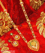 Gold Plated Stone Heartin Dollar Long Type Haaram With Ear Rings