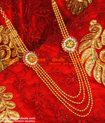 Gold Plated Four Line Flower Design With Ruby Stone Short Haaram