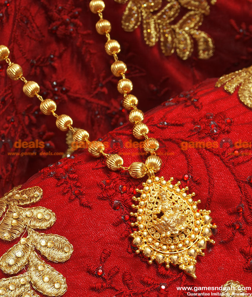 Gold Plated Traditional Lakshmi Dollar Beaded Chain Long Haaram