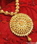Gold Plated Traditional Beaded Big Flower Dollar with Chain Haaram