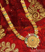 Gold Plated Teen Party Wear Big Ruby Stone Unique Imitation Haram