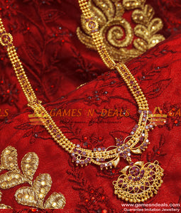 Grand Party Wear Traditional Ruby Stone Long Imitation Haaram