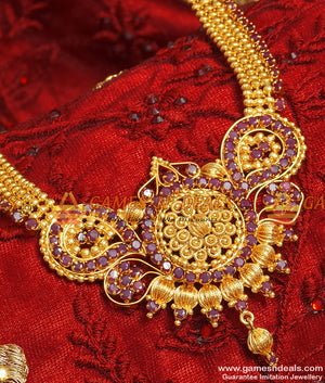 Long Grand Party Wear Traditional Ruby Stone Imitation Haaram