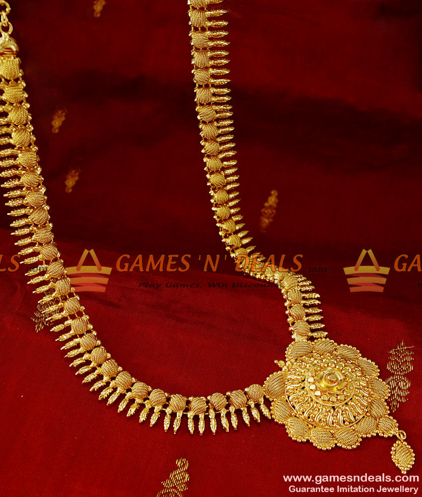 ARRG92 - Attractive Hand Made South Indian Party Wear Mullaipoo Leaf Haaram