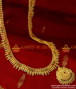 ARRG93 - Grand Bridal Wear Full AD Stone Long Necklace Imitation Jewelry Online