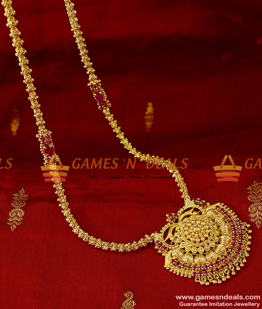 ARRG98 - South Indian AD Stone Mogappu and Dollar Kerala Jasmine Chain Online