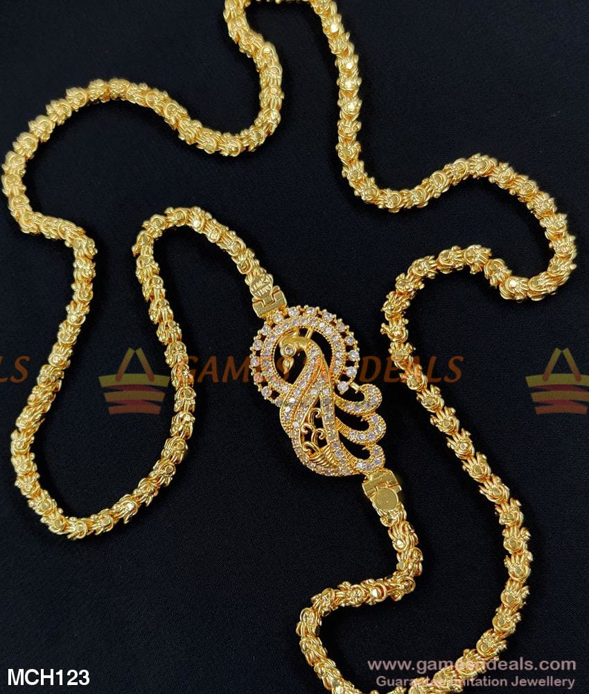 Attractive Daily Use Peacock Mugappu For Married Women Gold Design Chains 24 Inches