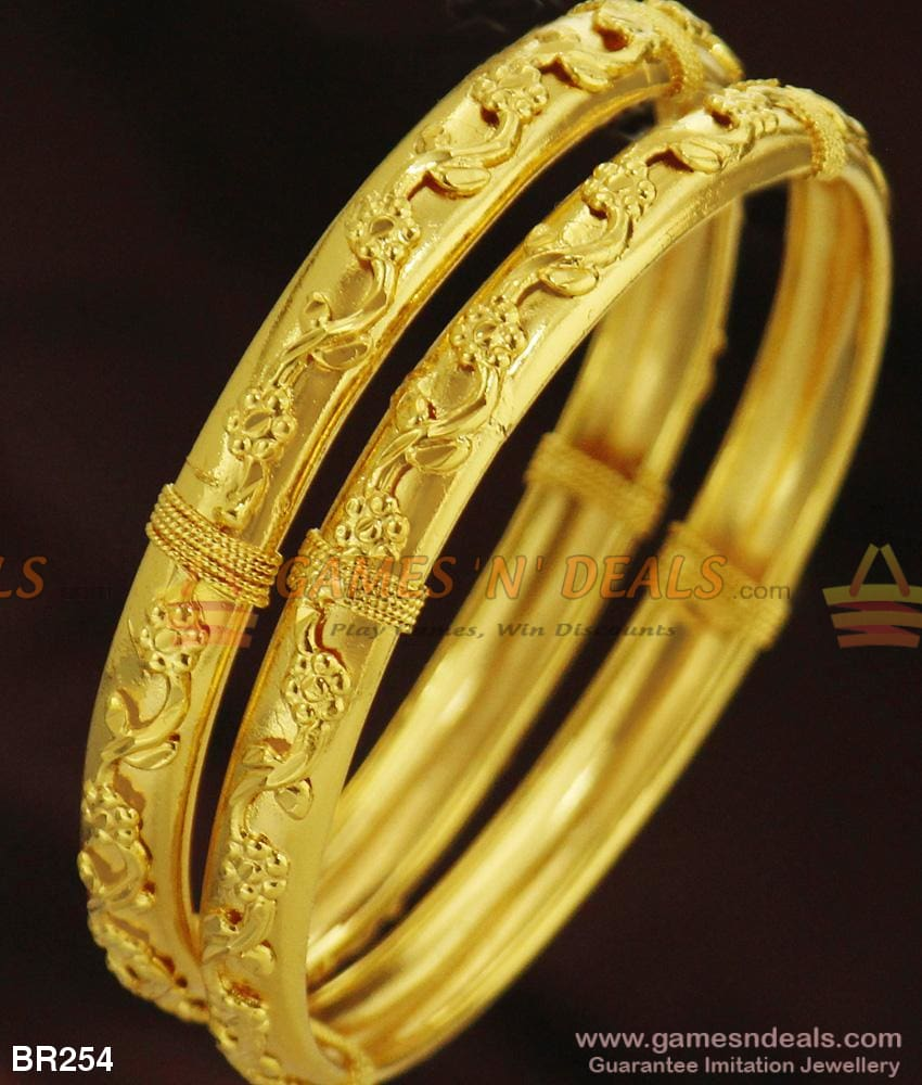 Beautiful Leaf Design Two Pieces College And Office Wear Bangles Set For Daily Use 2.4 Bangle
