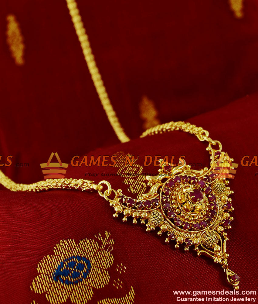 BGDR105 - Gold Plated Traditional Chain With Ruby Dollar Design