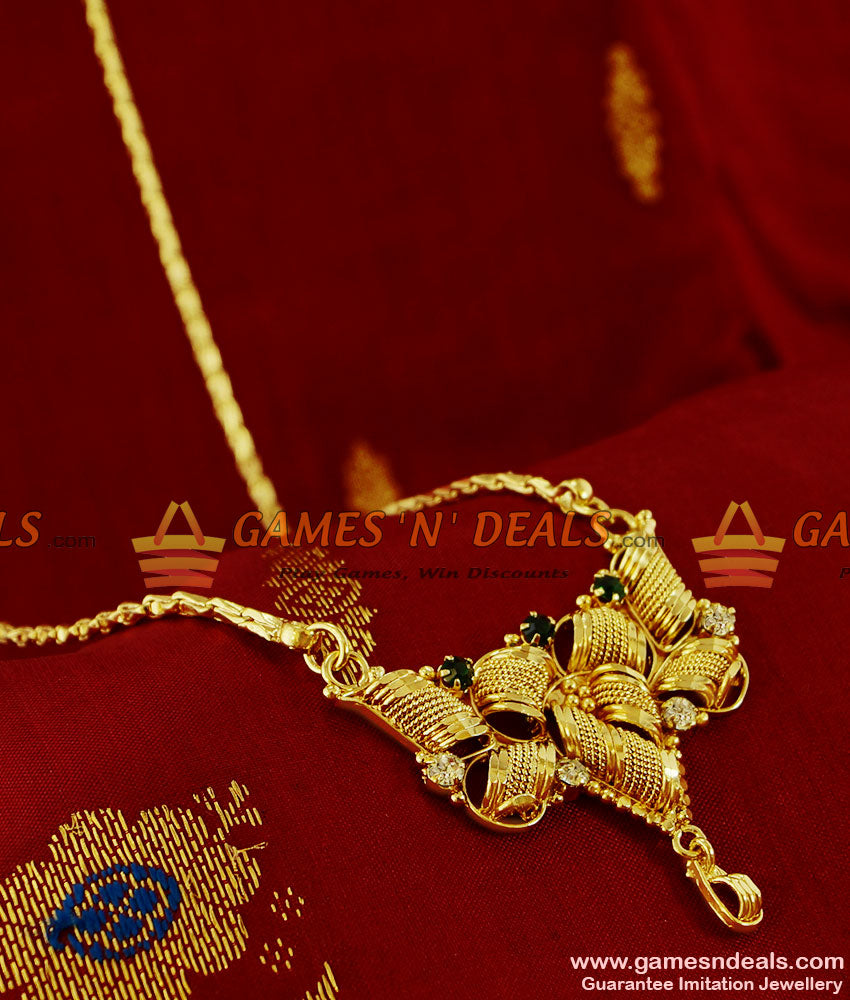 BGDR112 - Trendy Stone Dollar Gold Plated Imitation  Jewelry Wheat Chain Indian
