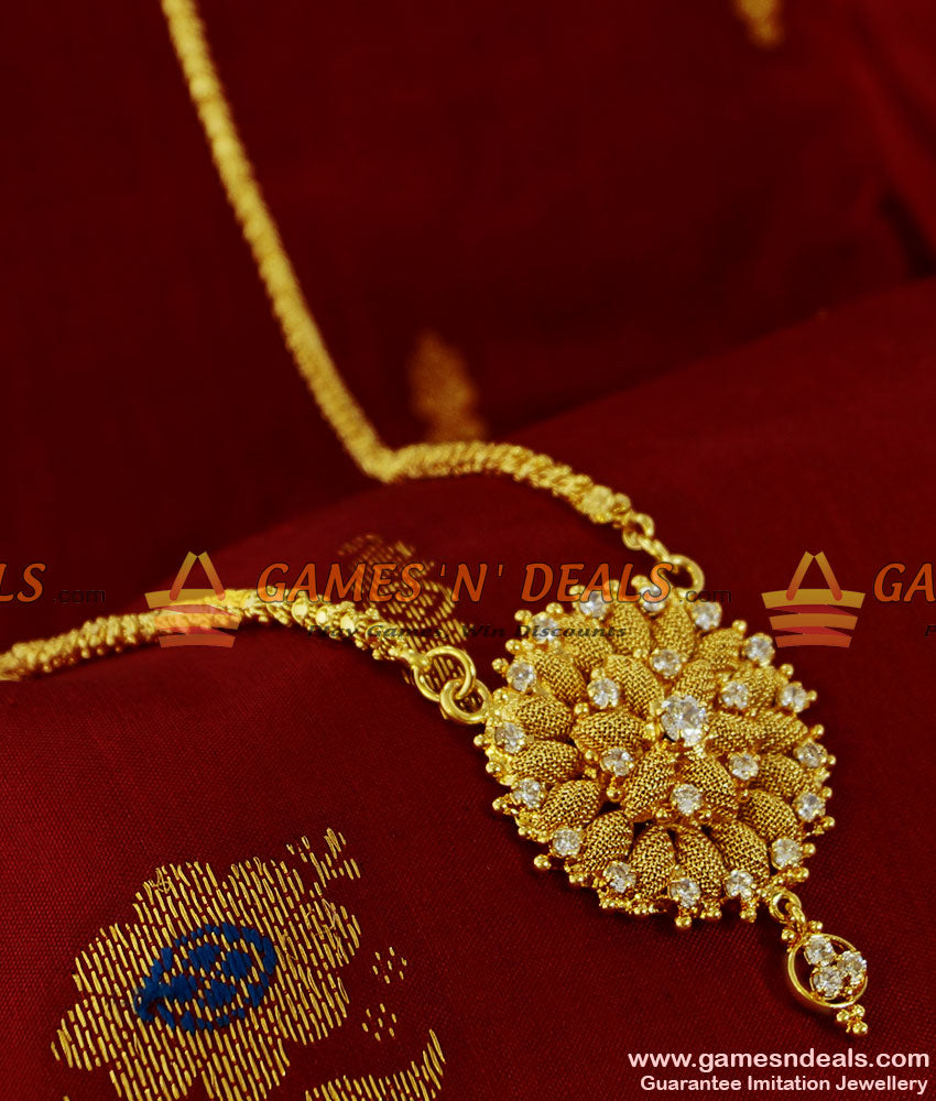 BGDR114 - Sparkling AD Whilte Stone Flower Dollar Real Gold Like Jewelry Design