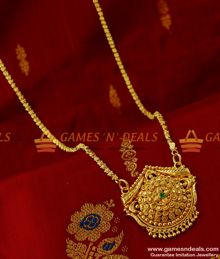 BGDR128 - Unique Kerala Green Stone Dollar with Jasmine Chain Party Wear Design
