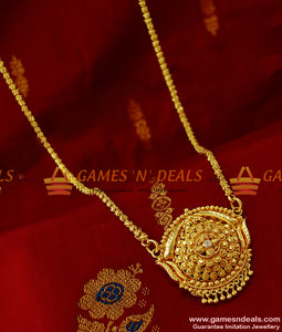 BGDR131 - Unique Kerala White Stone Dollar with Jasmine Chain Party Wear Design