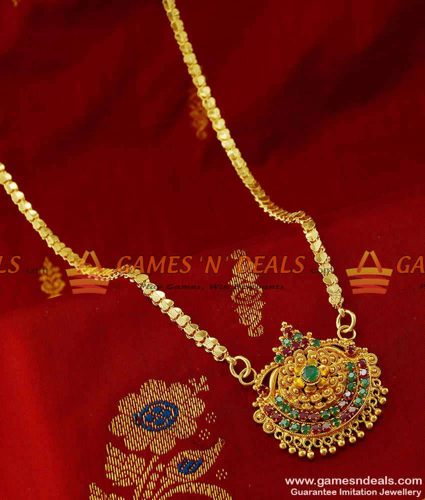 BGDR144 - South Indian Jewellery Imiation AD Stone Dollar with Chain Buy Online